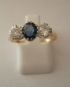 VINTAGE GOOD 1940'S 18 CT 1/2 CT DIA 0.72 PTS SAPPHIRE 3 STONE ENGAGEMENT RING