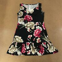 White House Black Market Women's Size Small Floral Flounce Hem Spray Dress NWT