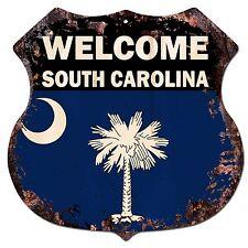 BP-0075 WELCOME SOUTH CAROLINA State Flag Shield Chic Sign Bar Shop Home Decor