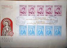 Monaco, lot de 4 blocs Europa sur enveloppes premier jour: 1975 à 1978