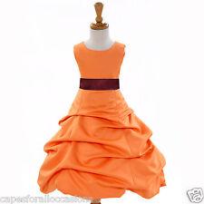 ORANGE WEDDING FLOWER GIRL DRESS 2 2T 3T 4 4T 5T 6 6X 7 8 9 10 11 12 13 14 15 16