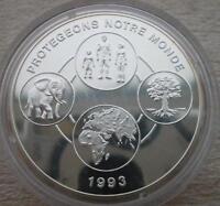 BENIN 1000 Francs 1993 Silver Proof Elephant