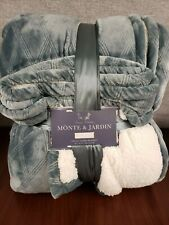 Monte and Jardin Velvet Sherpa Blanket Teal Queen - Luxury Collection 98 x 92