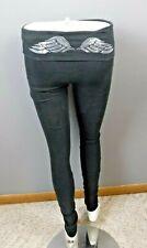 Victoria Secret S/P Long Black Leggings Silver Bedazzled  Angels Wings Foldover