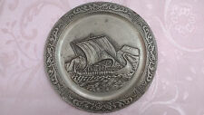 Old Decorative Metal Plate Dish Ship Art Room Decoration Decor