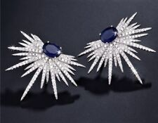 Boxed Faux SAPPHIRE BLUE Diamond Paste Cluster Silver Stud CRYSTAL EARRINGS UK