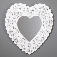 Heart Shape Mirror White Decorative Wall Hanging Shabby Chic