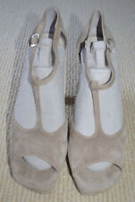 SCANLAN & THEODORE  Designer Women Beige Leather Platform Heels Sandals Sz 39
