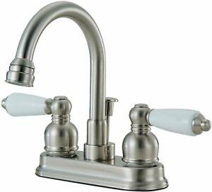 Designers Faucet Lavatory Bathroom Vanity Faucet Tap Pop Up Drain, Satin Nickel