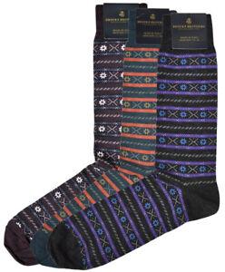 Brooks Brothers Mens 3 Pair Multi Fair Isle Merino Wool Dress Socks 7-12 8336-7