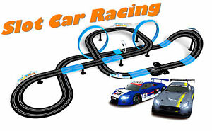 1/64 HO Slot Car Set Speed Chaser Road 28FT Racing Track Kit Kids Toy + Two Cars