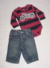 EUC Baby GAP Boys BRIGHT Red & Blue Motorcycle Shirt & Denim Jeans Set 3-6 M