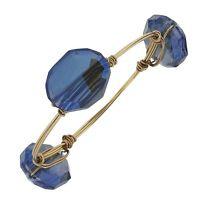 Blue Crystal Gold Toned Wire Wrap Bangle Bracelet