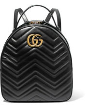 Brand New Gucci GG Marmont Quilted Black Leather Backpack