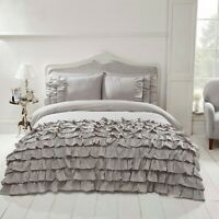 "Rapport ""Flamenco"" Frills, Ruffles Spanish Style Duvet Cover Bedding Set Grey"
