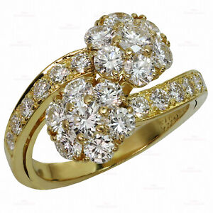 Vintage VAN CLEEF & ARPELS Fleurette Diamond Flower Bypass 18k Yellow Gold Ring
