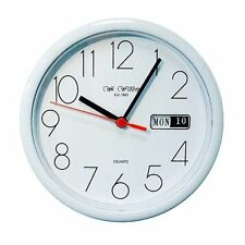 Small White Office Wall Clock - Day & Date Display