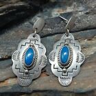 Delgarito Shop Sterling Silver Lapis Lazuli Tribal Stamped Dangle Earrings...