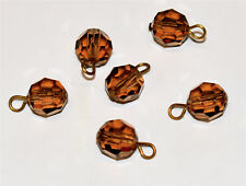 VINTAGE FACETED GLASS 8mm BEADS * 6 PENDANTS *  * COLORADO TOPAZ * BRILLIANT