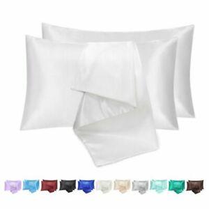 2X Satin Silk Pillowcase Luxury Ultra Soft Polyester Pillowcase Cover Queen-New