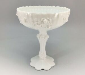 Vintage Fenton Cabbage Rose Milk Glass Compote Candy Dish Bowl White