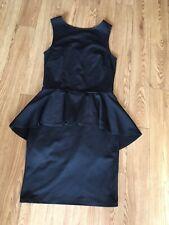 Asos Black Peplum Drop Back Dress Size 10 Work Office Little Black Dress