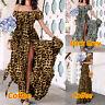 Size Women Holiday Off Shoulder Bardot Maxi Dress Beach Ruffled Sundress UK 8-26