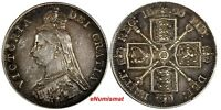 GREAT BRITAIN Victoria Silver 1890 Double Florin Last Year Type KM# 763