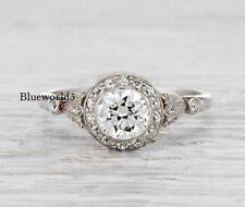 1 Carat Brilliant Cut Moissanite Halo Engagement Ring Solid In 14k White Gold