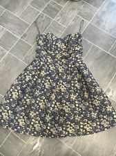 NEXT STRAPLESS SIZE 12 BLUE/GOLD FLORAL CORSET FLARED DRESS WOVEN MATERIAL