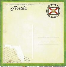 Sc - Florida Postcard Scrapbooking Paper - 1 sheet - Vintage 36177
