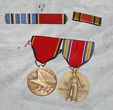 WWII Victory Medal + WWII Naval Reserve Medal W/ Ribbon Bars
