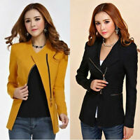 Womens Coat Slim Ladies Blazer Zipper Design Long Sleeve Jacket Suit Fashion