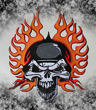 Crâne & FLAMMES,patch,XL,patch arrière,BADGE,Chopper,motard ,habitude,aufbuegler