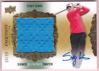 STACY LEWIS 2014 UD EXQUISITE SIGNED JUMBO SWATCH AUTO #55/99 GOLF AUTOGRAPH