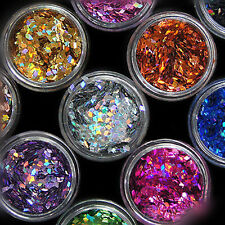 12 Colors Nail Art Stickers Acrylic 3d Glitter Sequins Manicure Decoration ILOE