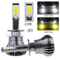 2x COB H1 2400LM 12W LED Car Dual Color Fog Light Lamp Bulb Bright White/Yellow