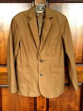 Duluth Trading Co Fire Hose Presentation Brown Canvas Lined Coat Mens Sz S  NWOT