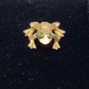 Avon Frog pin brooch lapel gold tone green rinestone dainty