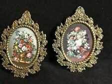 Vintage Cet 224 Miniature Floral Pictures (2) in Frames~Made in Italy