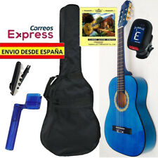 Pack Guitarra Clasica Española Azul Tamaño de Adulto 4/4 con funda y afinador