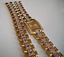 GOLD FINISH GENEVA MEN'S HIP HOP BLING BLUE/CLEAR CZ WATCH AND BRACELET SET