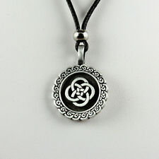 Celtic Knot Necklace Mens Womens Tribal Metal Black Inlay Rope Rose Pewter