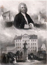 JOHANN SEBASTIAN BACH 1838 Albert Henry Payne - Bibby ANTIQUE ENGRAVING