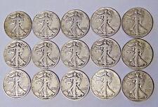 World War II Set of 15 Walking Liberty Half Dollars 1941-1945 PDS All 15 Coins