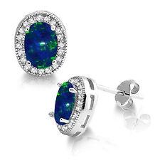 Oval Australian Dark Blue Fire Opal Halo CZ Sterling Silver Stud Earrings