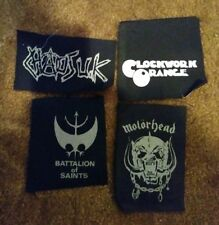 punk small canvas patch  lot set of 4 MOTORHEAD CHAOS UK BATS CLOCKWORK ORANGE
