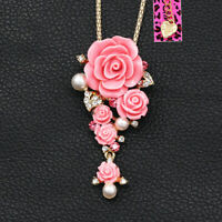 Betsey Johnson Resin Pearl Crystal Rose Flower Pendant Chain Necklace/Brooch Pin
