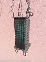 21018 Lampe formgeblasen 60er Jahre Glas Eisen rustic ceiling lamp Rustikal Glas