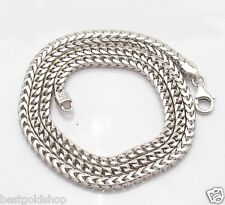 "30"" 4mm Mens Anti-Tarnish Solid Franco Chain Necklace Solid Sterling Silver 925"